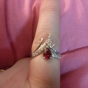 Sterling Silver 925 stamped ruby ring size 8
